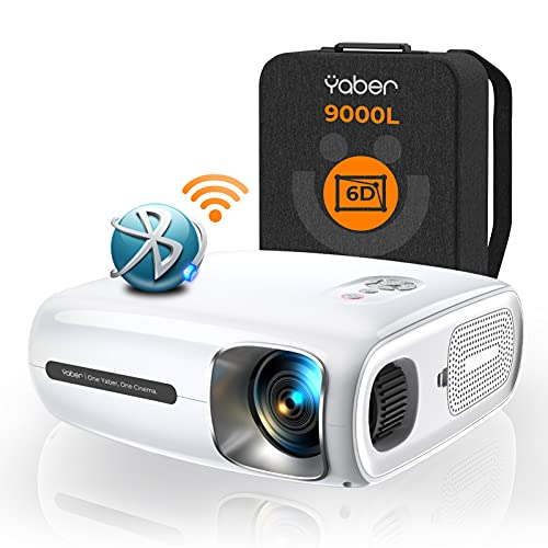 YABER Proyector Bluetooth Pro V7 9000L 5G Full HD 1080P WiFi, Corrección Trapezoidal Automática 6D y 4P/4D, Zoom Infinito, Proyector Portátil 4K HD para iOS/Android, etc.